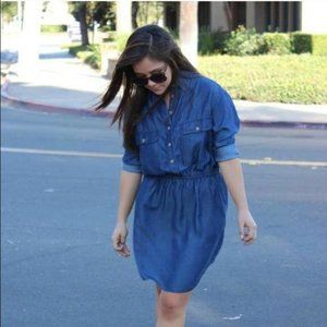 """""""Isabelle"""" Blue Chambray Button Down Shirt Dress"""
